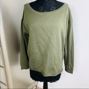 NWT ASOS Soft Green Lightweight Raw Hem Sweatshirt